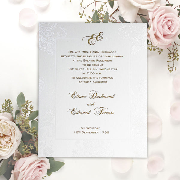 Pearl Damasque Wedding Day Invitation Pocket Suite