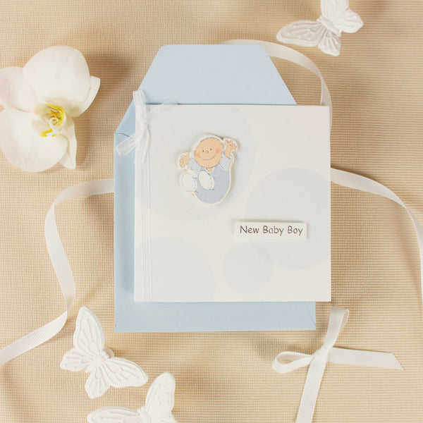 New Baby Boy Card with Shimmering Ribbon and 3D Application
