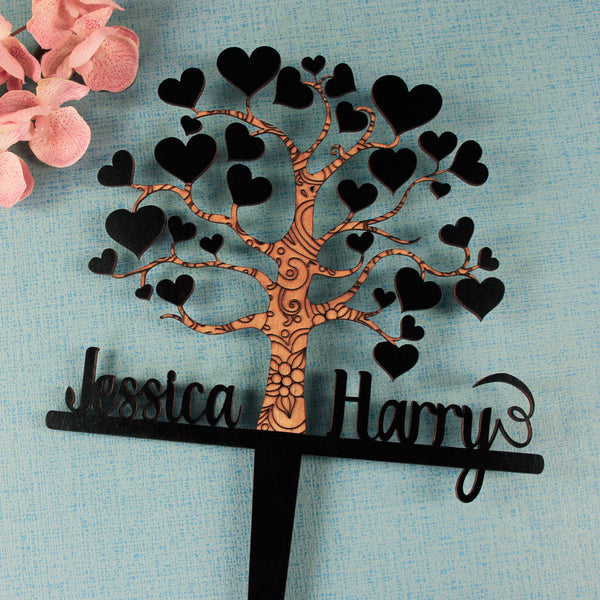 Personalised cake topper - Bride & Groom names with Tree design