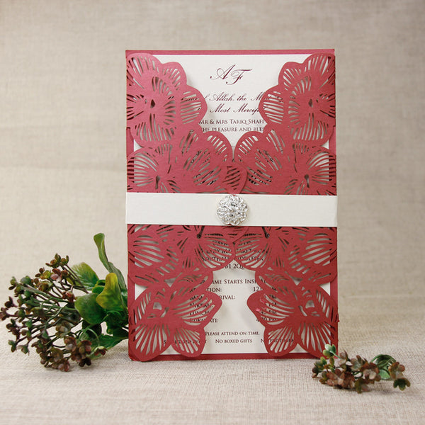 Intricate Orchid Laser Cut Gatefold Wedding Invitation