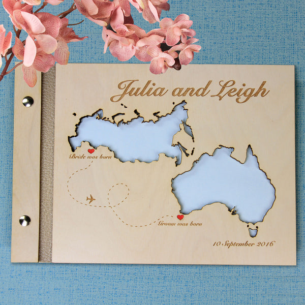30 Sheet Large Wooden Wedding Guest Book / Photo Album with Customised Map
