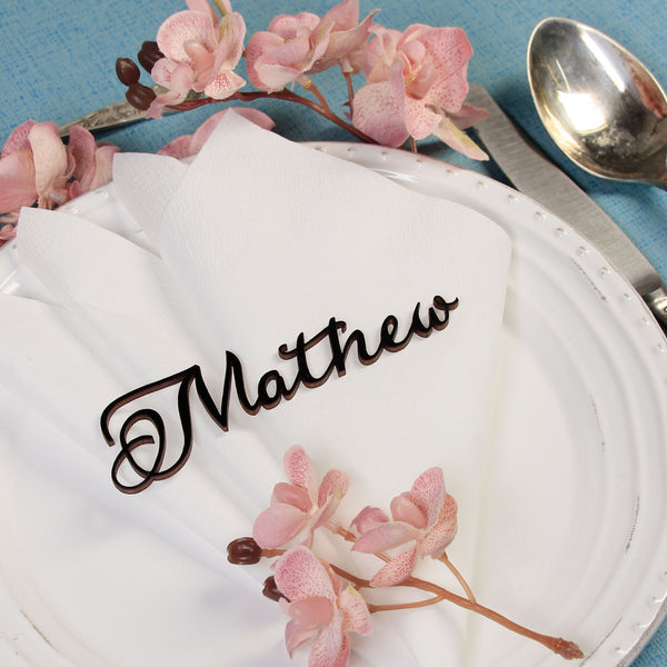Laser Cut Wooden Place Card / Name Tag / Wedding Favour