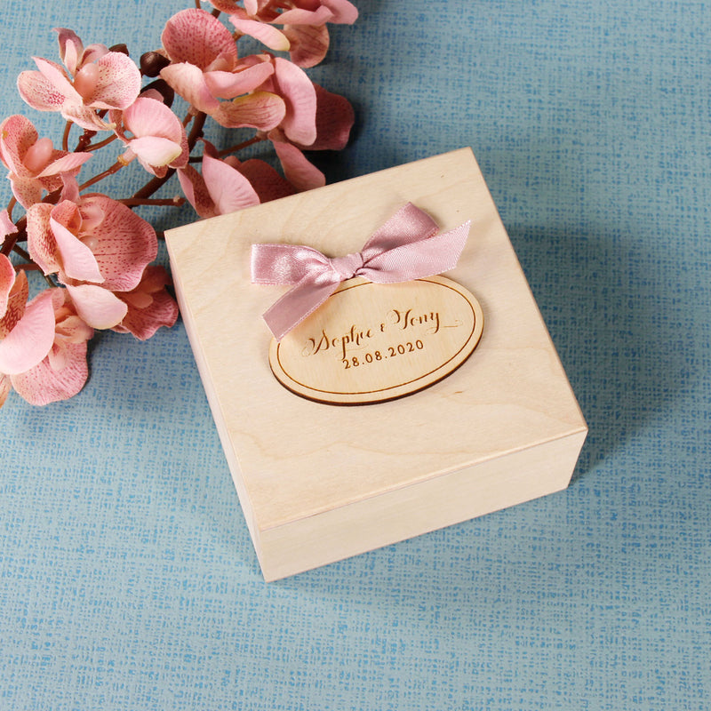 Wedding Ring Box with Oval Names and Bow Ribbon