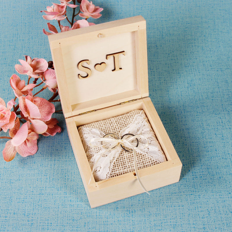 Wedding Ring Box with Heart Wood Application and Ribbon tied in a Bow
