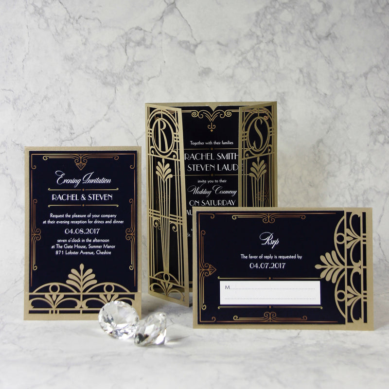 Golden Art Deco Great Gatsby Laser Cut Gatefold Wedding RSVP Card