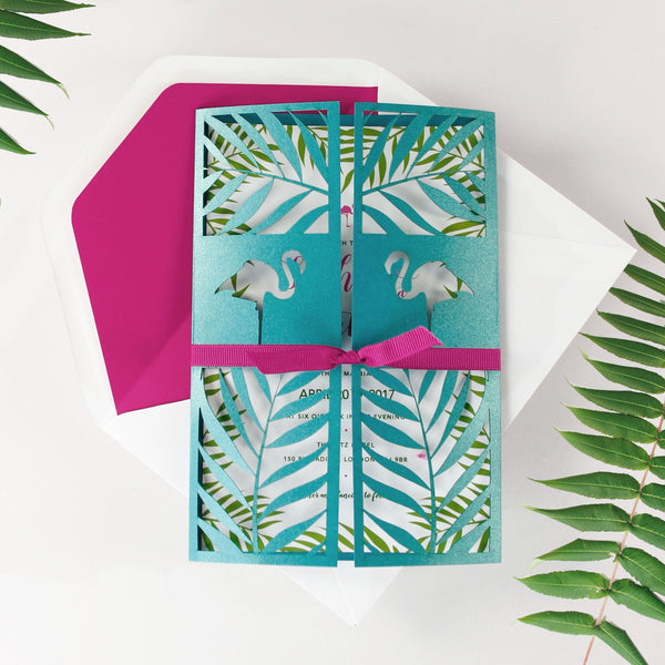 Tropical Turquoise Flamingo Laser Cut Wedding Day Invitation