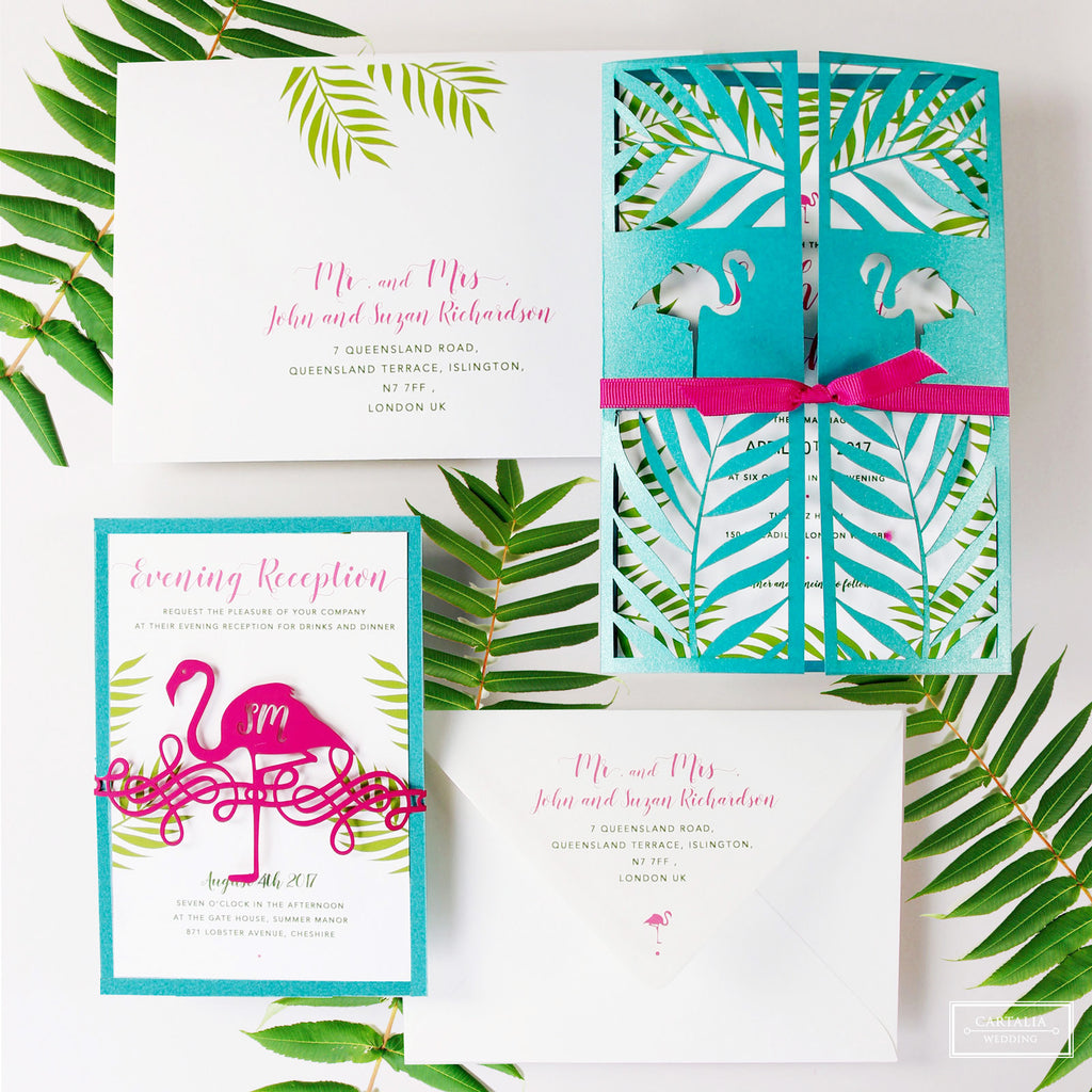 Tropical Turquoise Flamingo Laser Cut Wedding Evening Invitation / RSVP