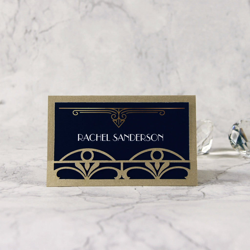 Golden Art Deco Great Gatsby Laser Cut Place Card