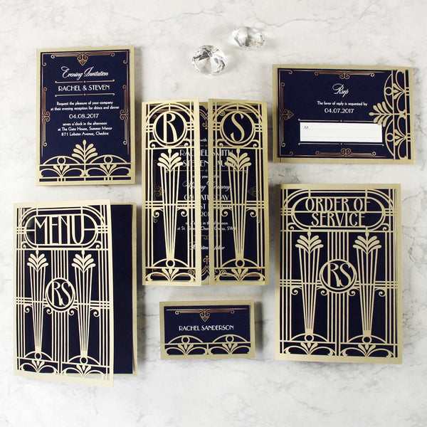 Golden Art Deco Great Gatsby Laser Cut Gatefold Wedding Day Invitation