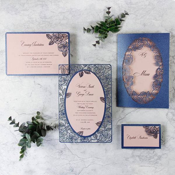 Romantic Roses Laser Cut Wedding Order of Service/Menu