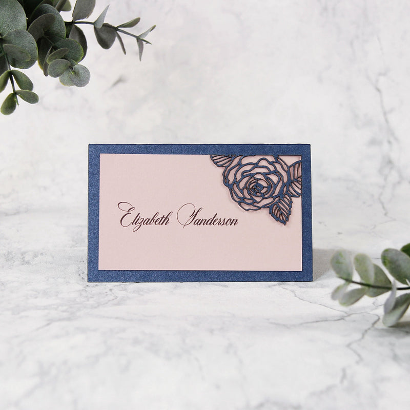 Romantic Roses Laser Cut Wedding Place Card
