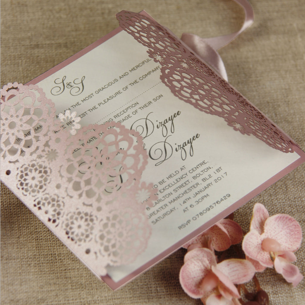 Filigree Lace Laser Cut Gatefold Evening Invitation