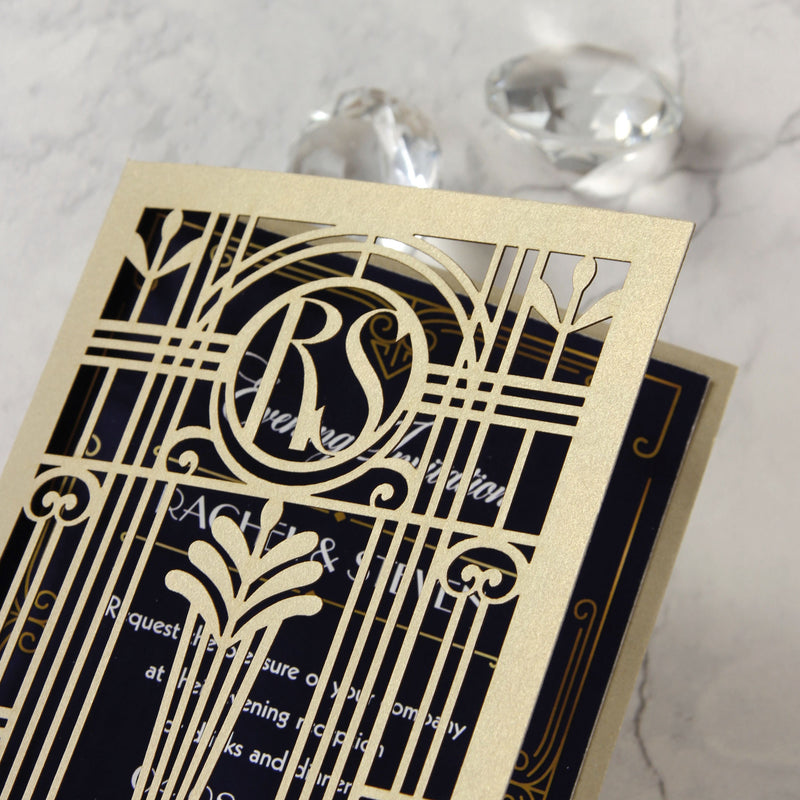 Golden Art Deco Great Gatsby Laser Cut Gatefold Wedding Evening Invitation