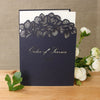 Intricate Orchid Laser Cut Gatefold Wedding Order of Service / Menu