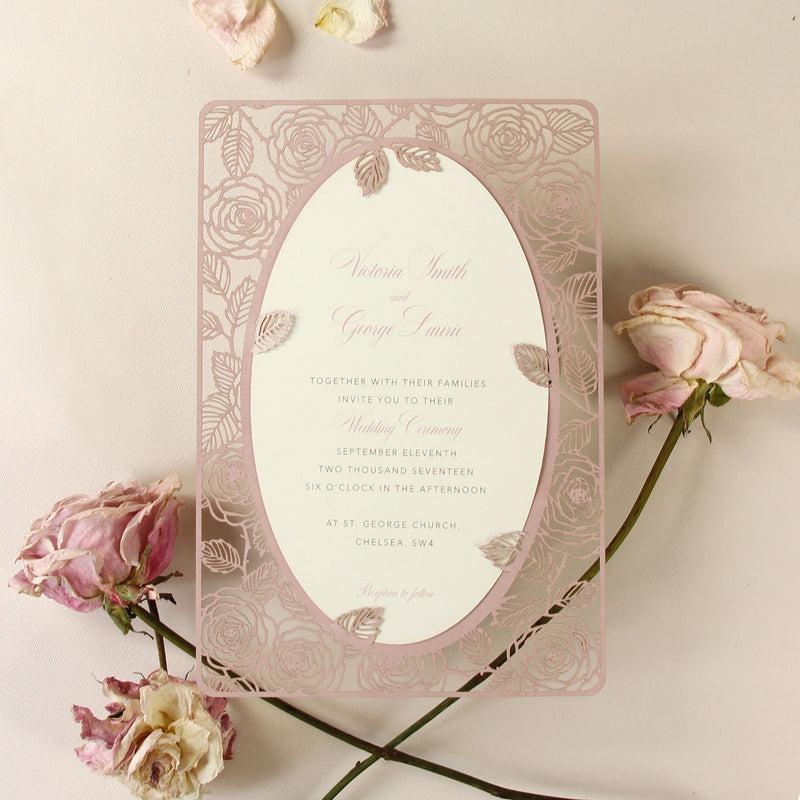 Romantic Roses Mirror Laser Cut Wedding Day Invitation