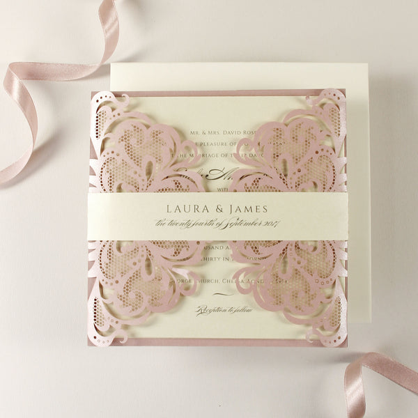 The Blush and Cream Collection Gatefold Luxury Set with RSVP included.