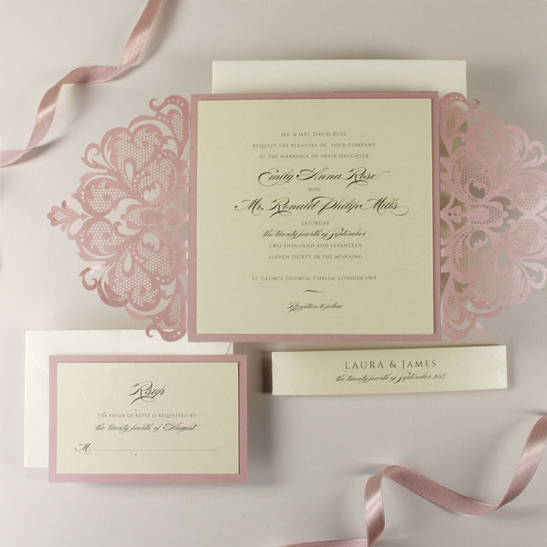 Blush and Cream Luxury Gatefold Laser cut Set Wedding Invitation with Monogram Belly Band + RSVP + Envelopes