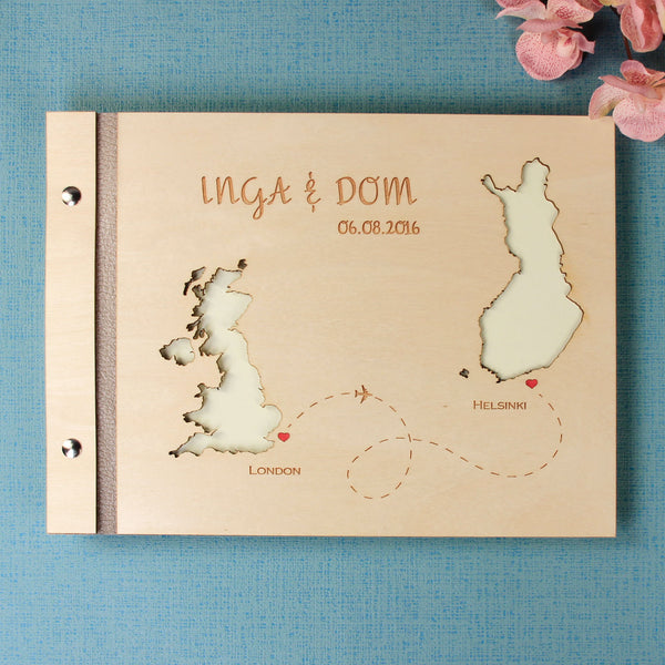 50 Sheet Small  Wooden Wedding Guest Book / Photo Album with Customised Map