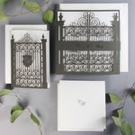 Ornamental Gate Laser Cut Modern Square Save the Date with Envelope