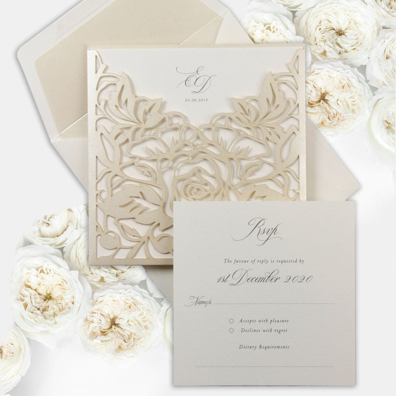 Classic Elegance Laser cut Pull out folder Invitation in Cream and Champagne Metallic Colours
