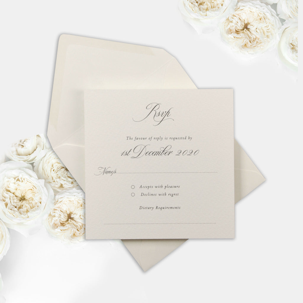 Rsvp / Extra Info for: Classic Elegance Laser cut Invitations