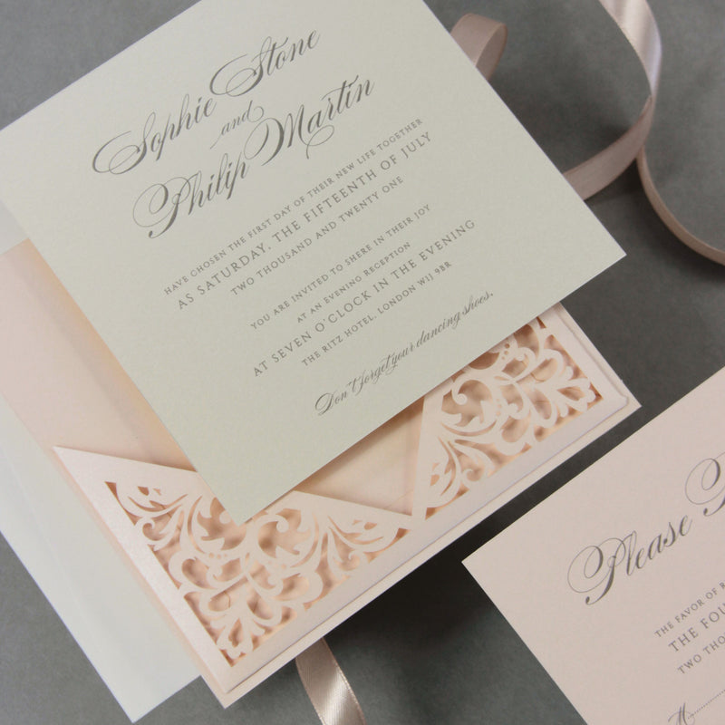 Soft Peach Laser Cut Lace Pocketfold Pull Out Style Wedding Invitation + Rsvp Card