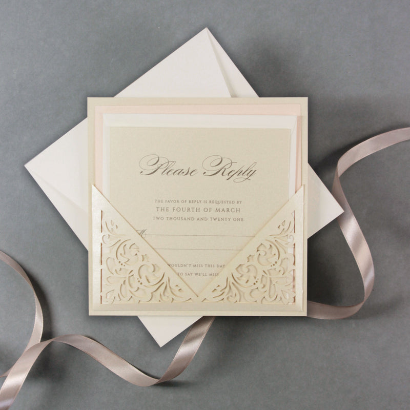 Champagne Laser Cut Lace Pocketfold Wedding Invitation - Evening Invitation