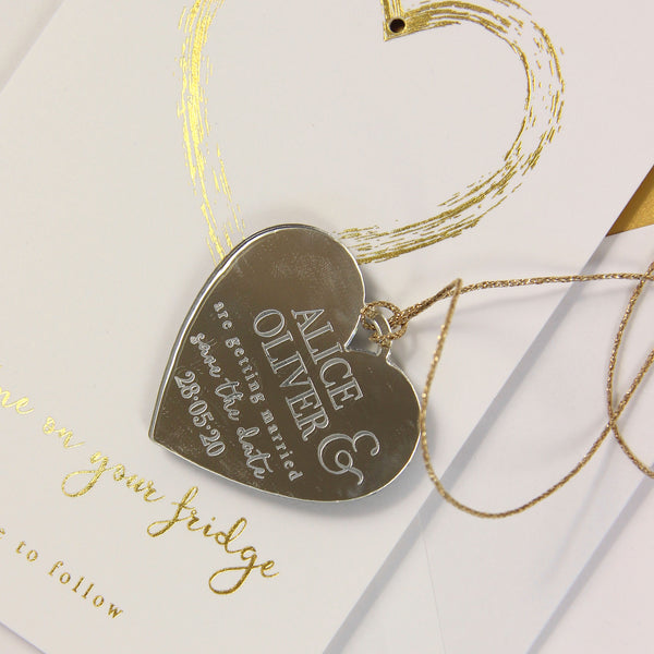 Gold Save the Date Magnet with Heart Foil and engraving on Mirror plexi on with card