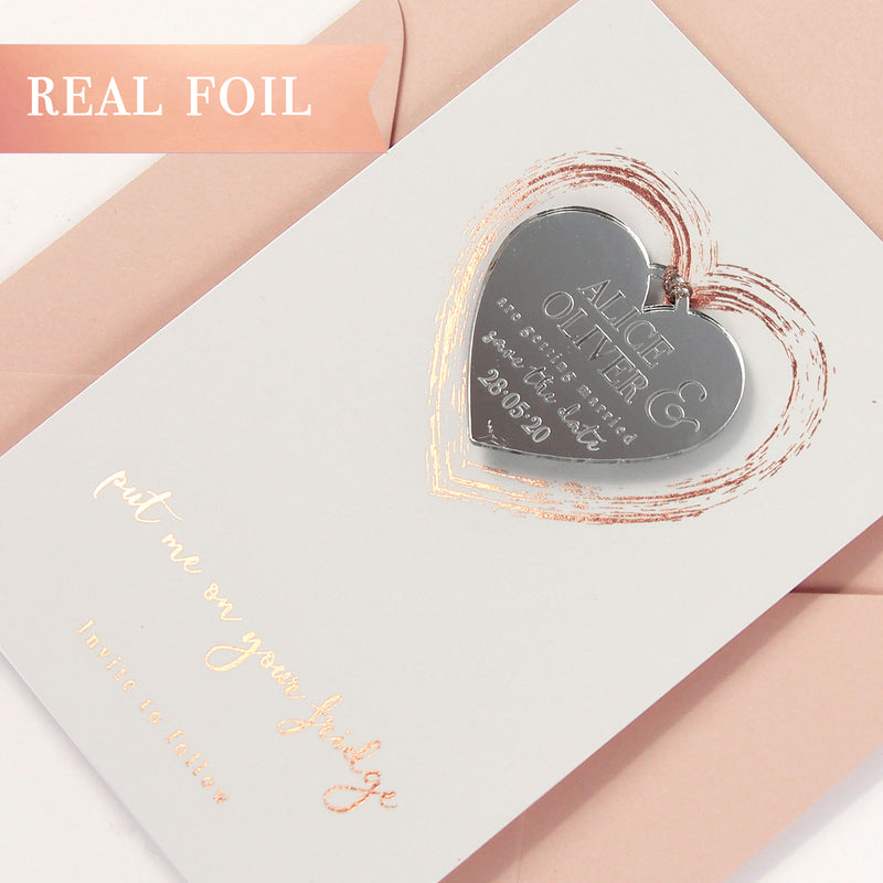 Plexi Heart Save the Date Magnet in Rose Gold Foil Mirror with card