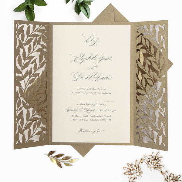 Gold Leafy Arch Gatefold Intricate Laser Cut Leaf Lace Day Invitation