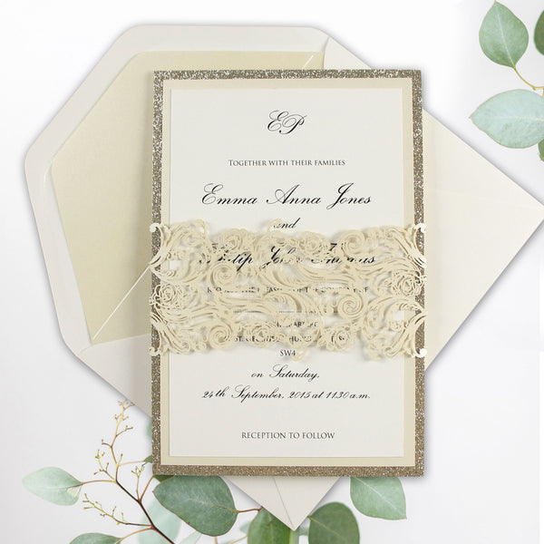 Intricate Laser Belly Band Metallic Champagne Glitter Wedding Day Invitation