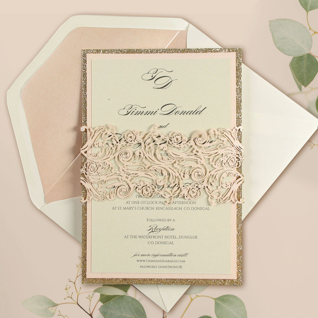 Intricate Laser Belly Band Metallic Rose Gold and Gold Glitter Wedding Day Invitation