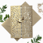 Leafy Arch Gatefold Intricate Laser Cut Leaf Lace Day Invitation