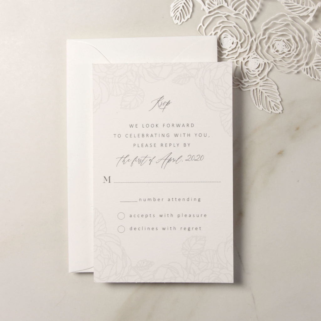 Intricate Rose Detail RSVP card with Envelope