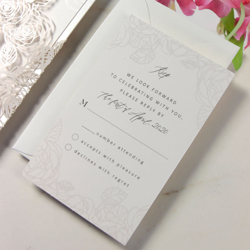 Intricate Laser Cut Roses Detail with Pearl Foil Belly Band Style Wrap Wedding Day Invitation