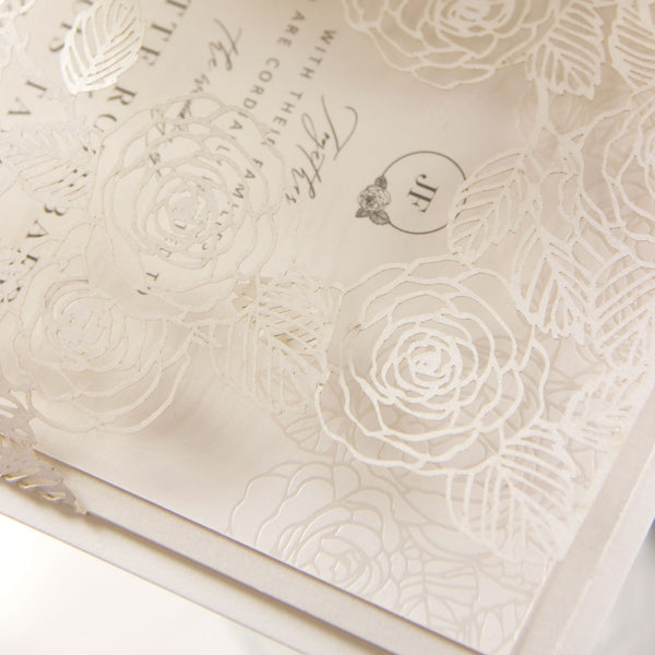Intricate Laser Cut Rose Detail with Pearl Foil Belly Band Style Wrap Wedding Day Invitation