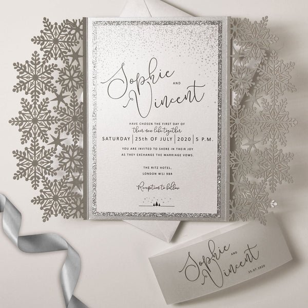 White Winter a Snowflake Laser Cut Gatefold Wedding Day Invitation with Glitter Backing