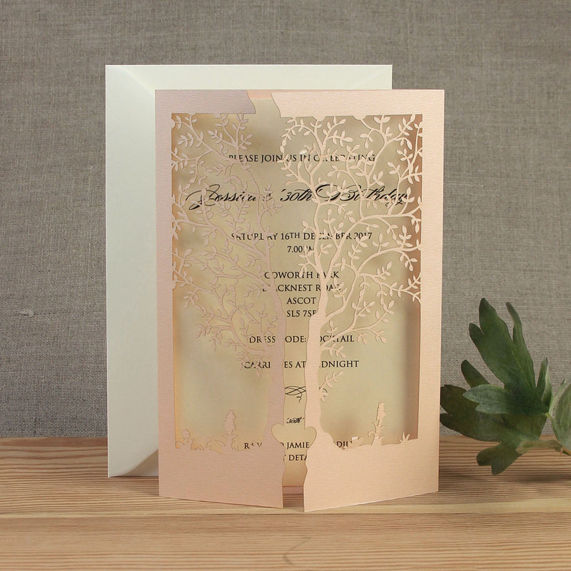 Intricate Laser Cut Tree Card Day Invitation