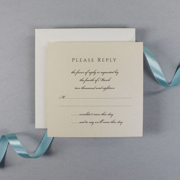 Dusty Blue Laser Cut Lace Pocketfold Wedding  Save the Date / Thank You / Reply Card