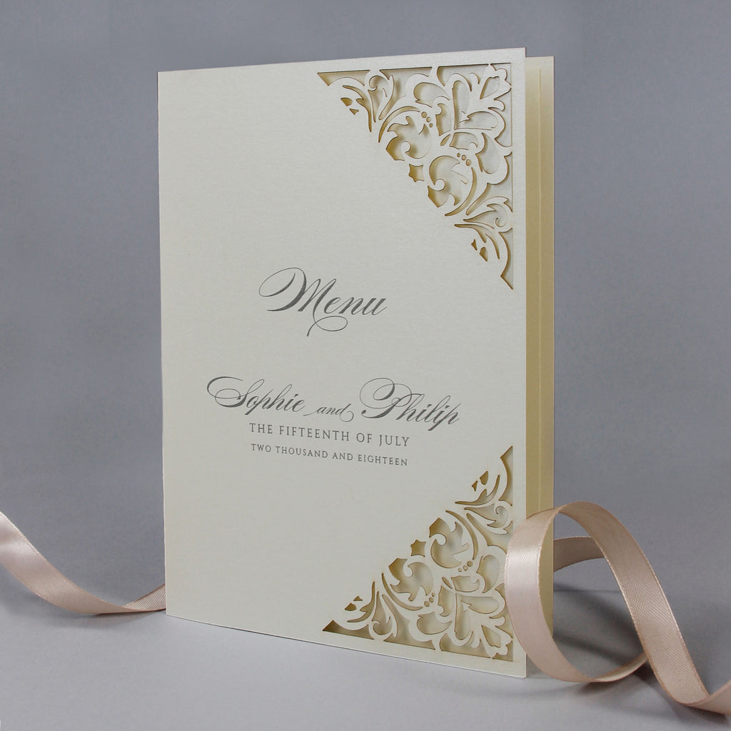 Classic Envelope Fold Confetti Pocket Suite in Dusty Pink and Champagne:  Menu