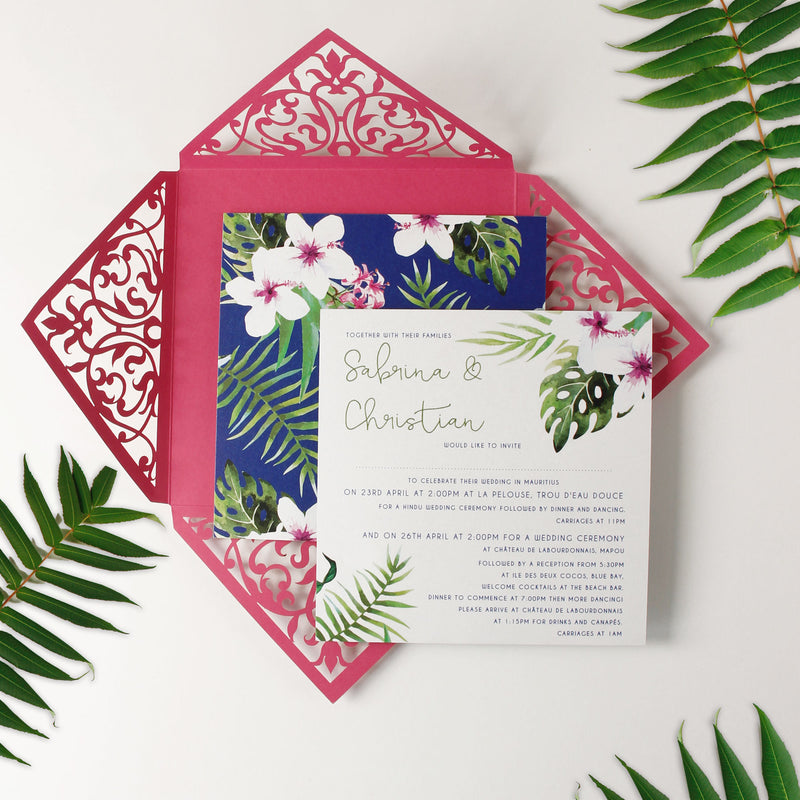 Fuchsia and Monstera Tropical Destination Laser Cut Lace Pocketfold Wedding Invitation + Rsvp + Wedding Wish Set