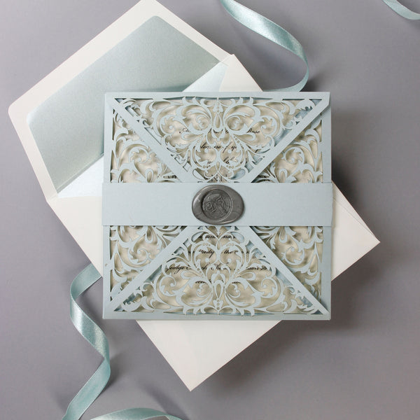 Completely new Dusty Blue Wax Seal Laser Cut Lace Pocketfold Wedding Invitation +  MA31