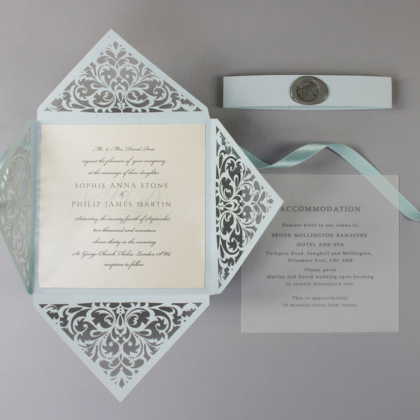 Dusty Blue Wax Seal Laser Cut Lace Pocketfold Wedding Invitation + Wedding Wish Set