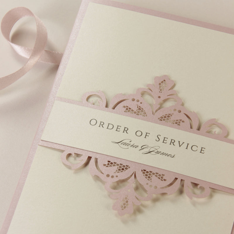 Blush and Cream Luxury Laser cut Order of Service / Menu