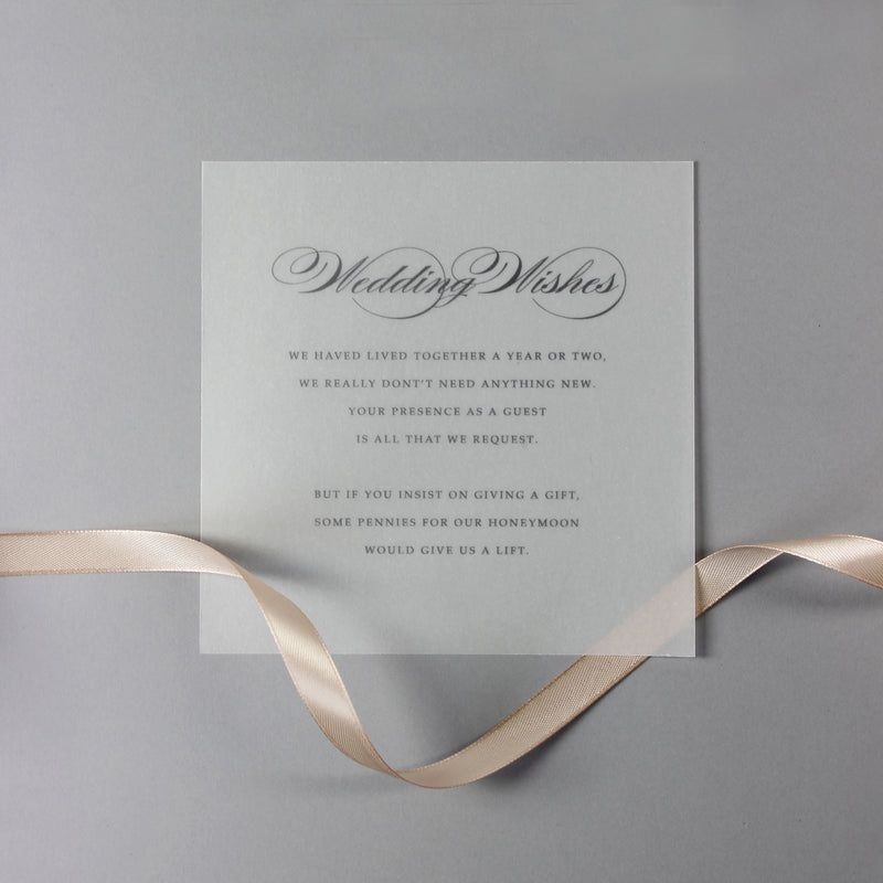 Champagne Laser Cut Lace Pocketfold Wedding Invitation + Wedding Wish Set