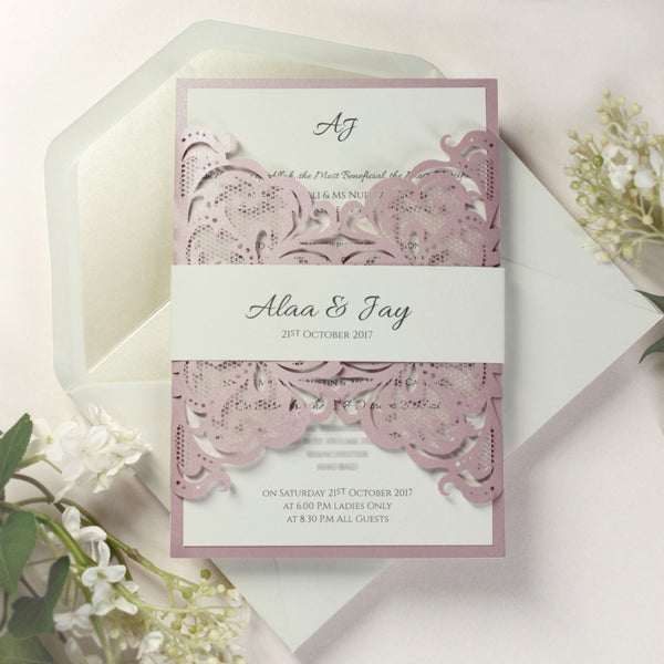 Belly Band Metallic Rose Lace Laser Cut Gatefold Wedding Day Invitation