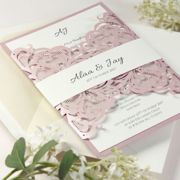 Pink Metallic Rose Lasercut Fine Gatefold Collection.