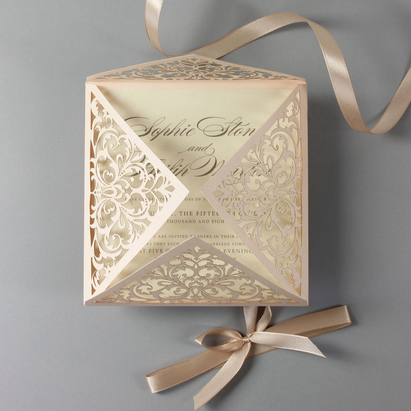 Soft Peach Laser Cut Lace Pocketfold Wedding Invitation with Satin Ribbon + Wedding Wish Set