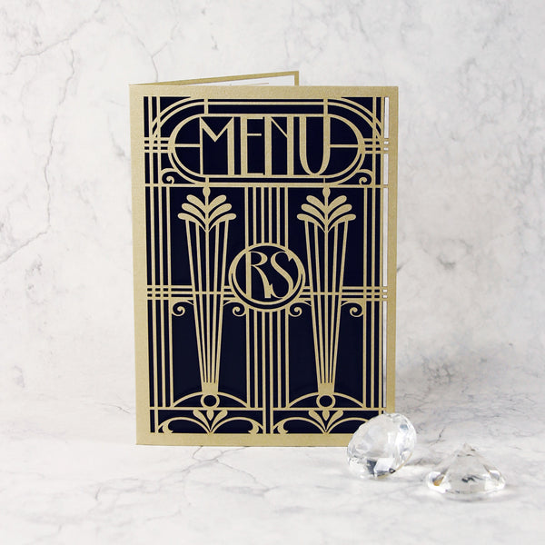 Golden Art Deco Great Gatsby Laser Cut Gatefold Menu / Order of Service