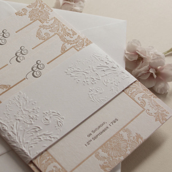 Embossed Damasque Day Wedding Invitation